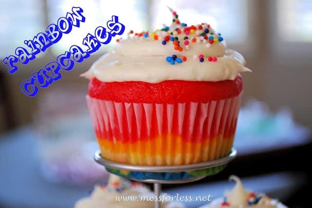 rainbow cupcakes for a rainbow party