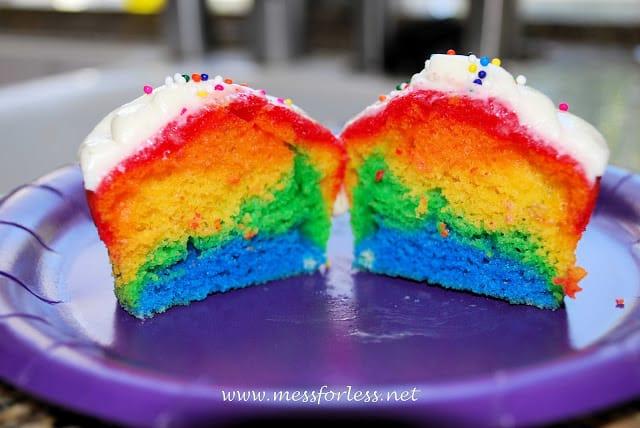 sliced rainbow cupcakes
