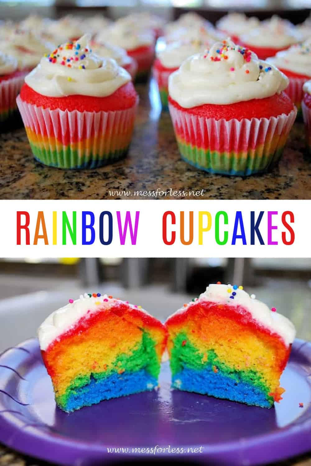 These Rainbow Cupcakes are easier to make than they look thanks to boxed cake mix. They are perfect for a rainbow themed party or any special occasion.