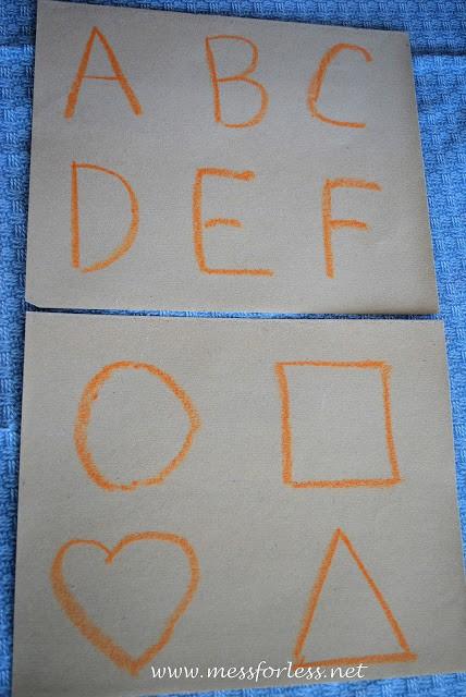 alphabet, letters on sandpaper