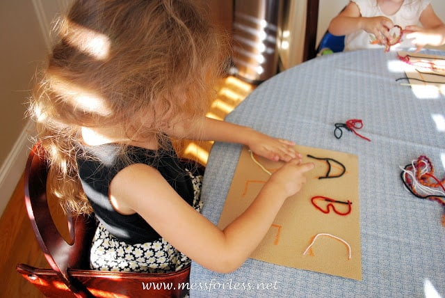 sandpaper, tracing, preschool activity