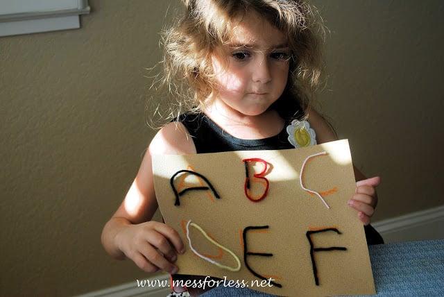 yarn, letters, kids activity