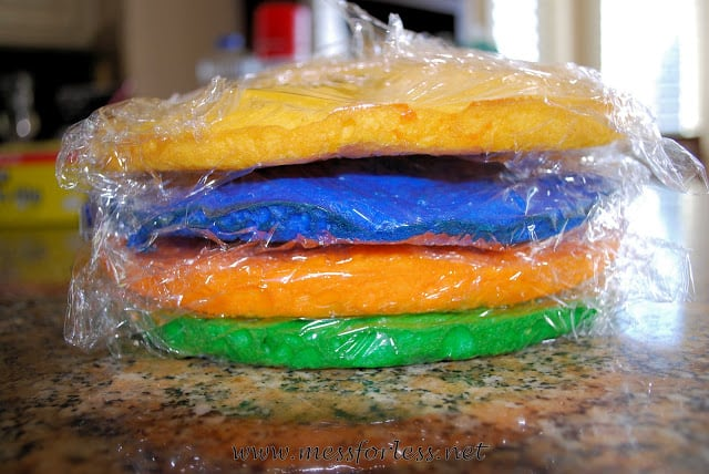 making a rainbow cake