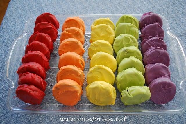 rainbow colored oreos