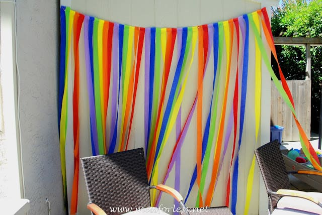 rainbow party, rainbow streamers, birthday party