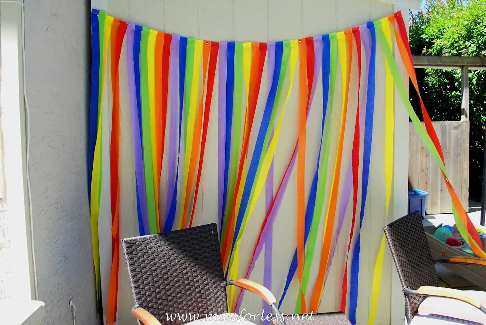 Diy rainbow party ideas mess for less for Party streamers decorating ideas