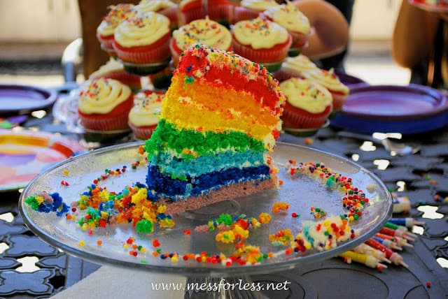 rainbow cake birthday party