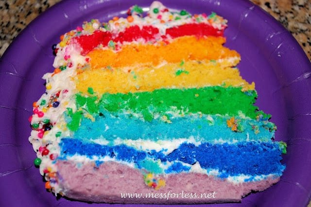 rainbow birthday party, inside of rainbow cake