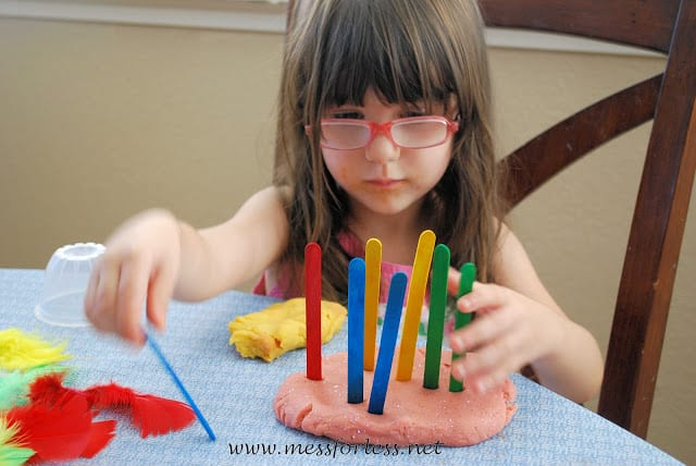 Popsicle Sticks and Play Dough