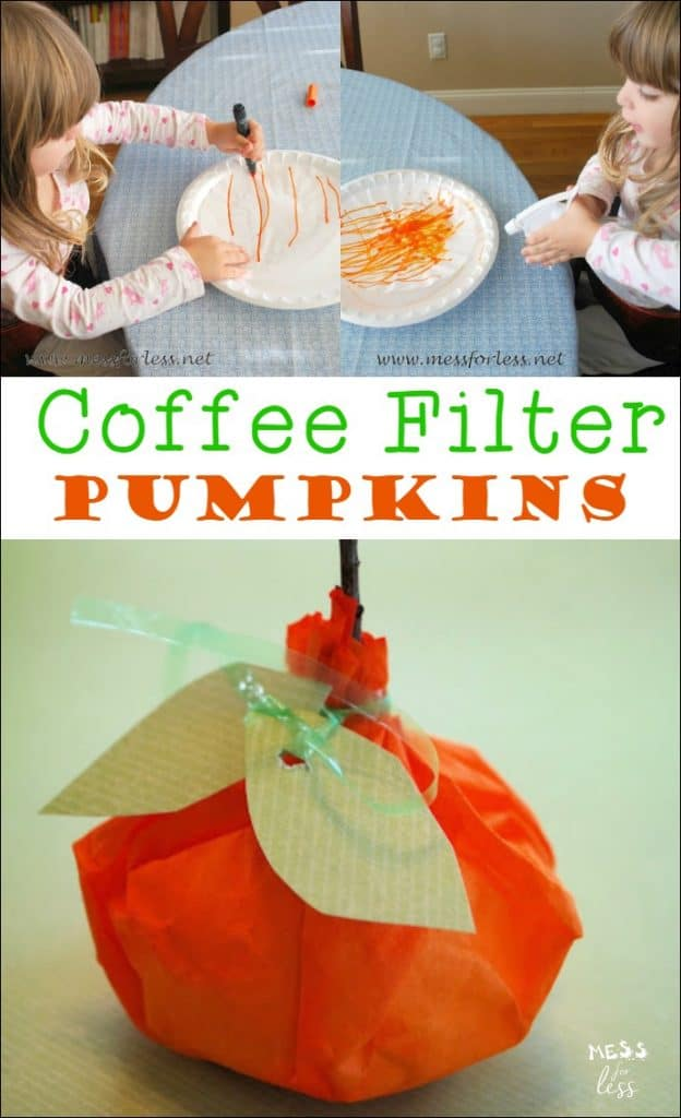 These coffee filter pumpkins are fun for kids to make and are a great Fall decoration! Such a fun kids activity!