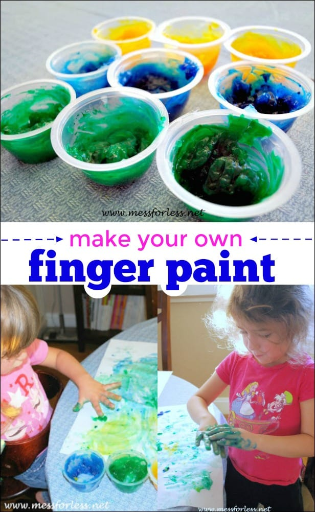 This homemade finger paint uses just a few common household items and is super fun for kids. Great art activity!