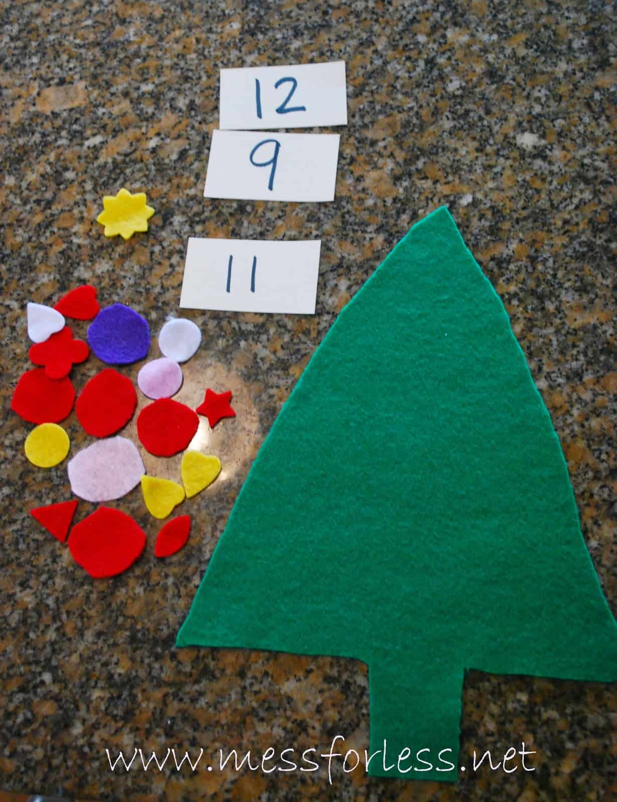Christmas tree math game mess for less for Number of ornaments for christmas tree