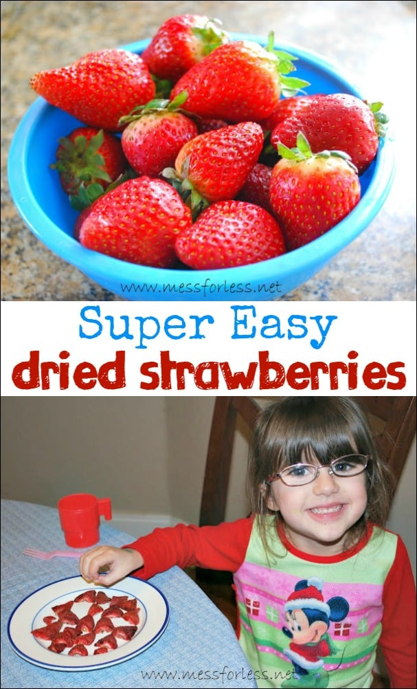 Kids will love these Easy Dried Strawberries. Simple to make and good for you!