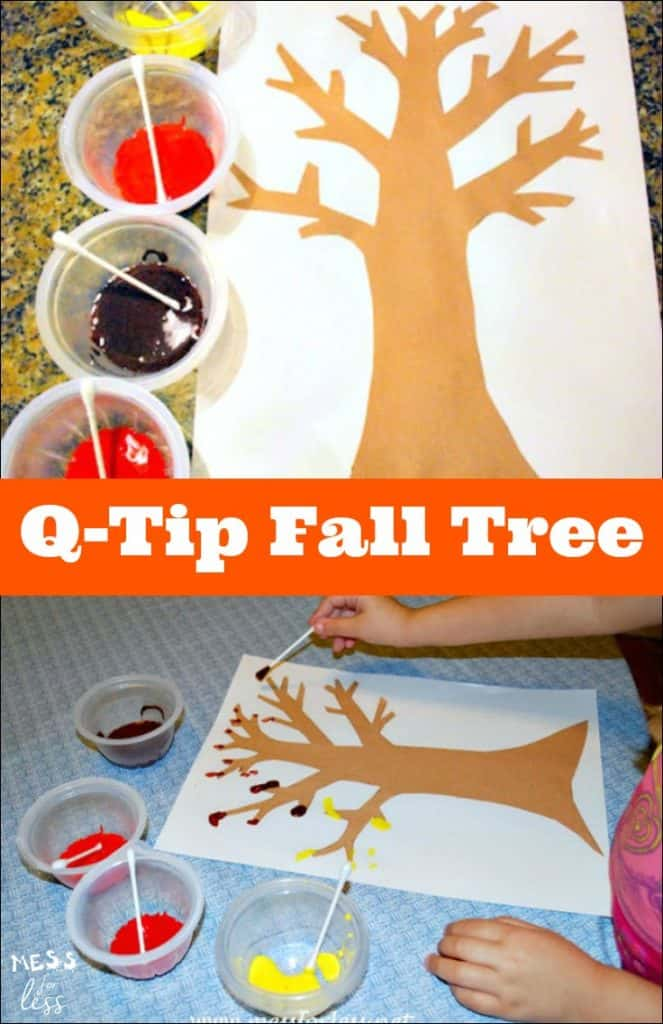 This Q-Tip Fall Tree is the perfect Fall activity for kids. Painting in this way really helps with fine motor skills plus it is just plain fun!
