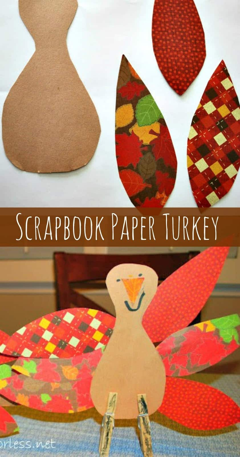How to make scrapbook with construction paper - Scrapbook Paper Thanksgiving Turkey Craft