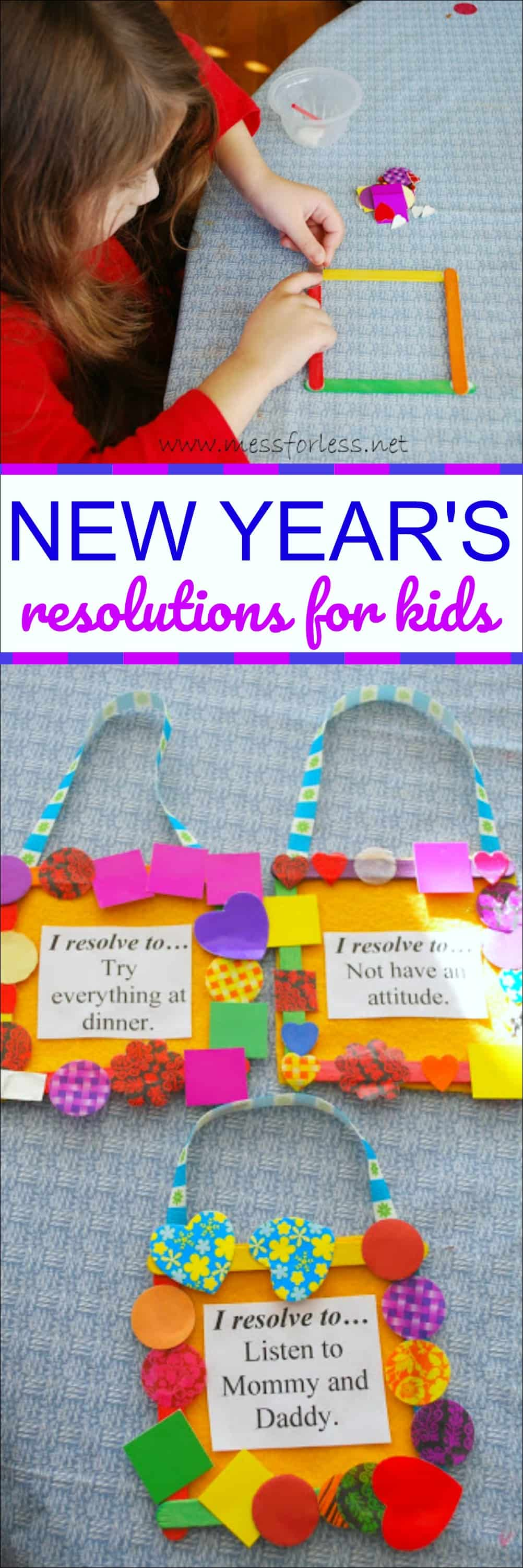 Help kids to make and keep small goals by doing this New Year's Resolutions for Kids craft. Kids will have fun and make a reminder of their resolution.