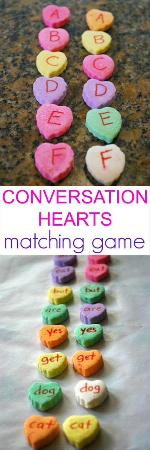 Conversation Hearts Word Matching Game - Fun way for kids to practice their sight words. Features a version for kids learning letters as well.