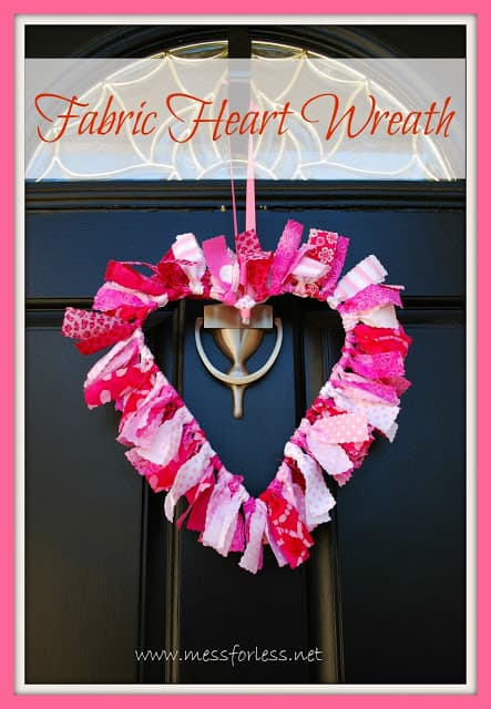 Valentine Decoration: Heart Shaped Fabric Wreath, #crafts, #Valentines