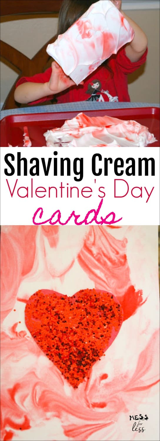 These Valentine's Day Cards using Shaving Cream are fun for kids to make. A cool sensory activity that produces a different card each time.