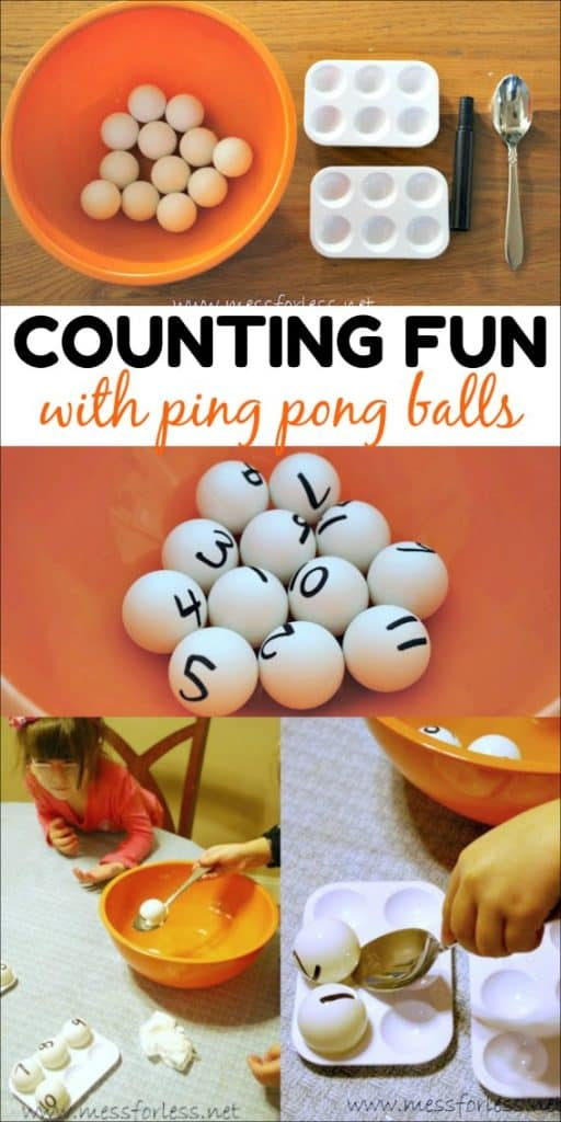 This counting fun with ping pong balls game helps preschool aged children with numerical order, number recognition and even fine motor skills.