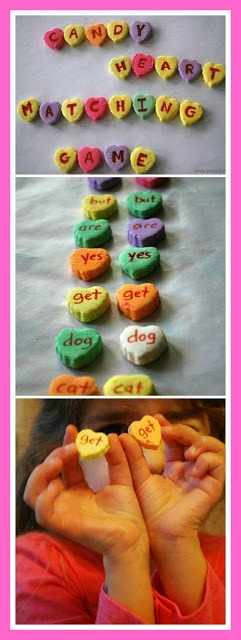Conversation Hearts Sight Word Matching Game - Fun way for kids to practice their sight words. Features a version for kids learning letters as well.