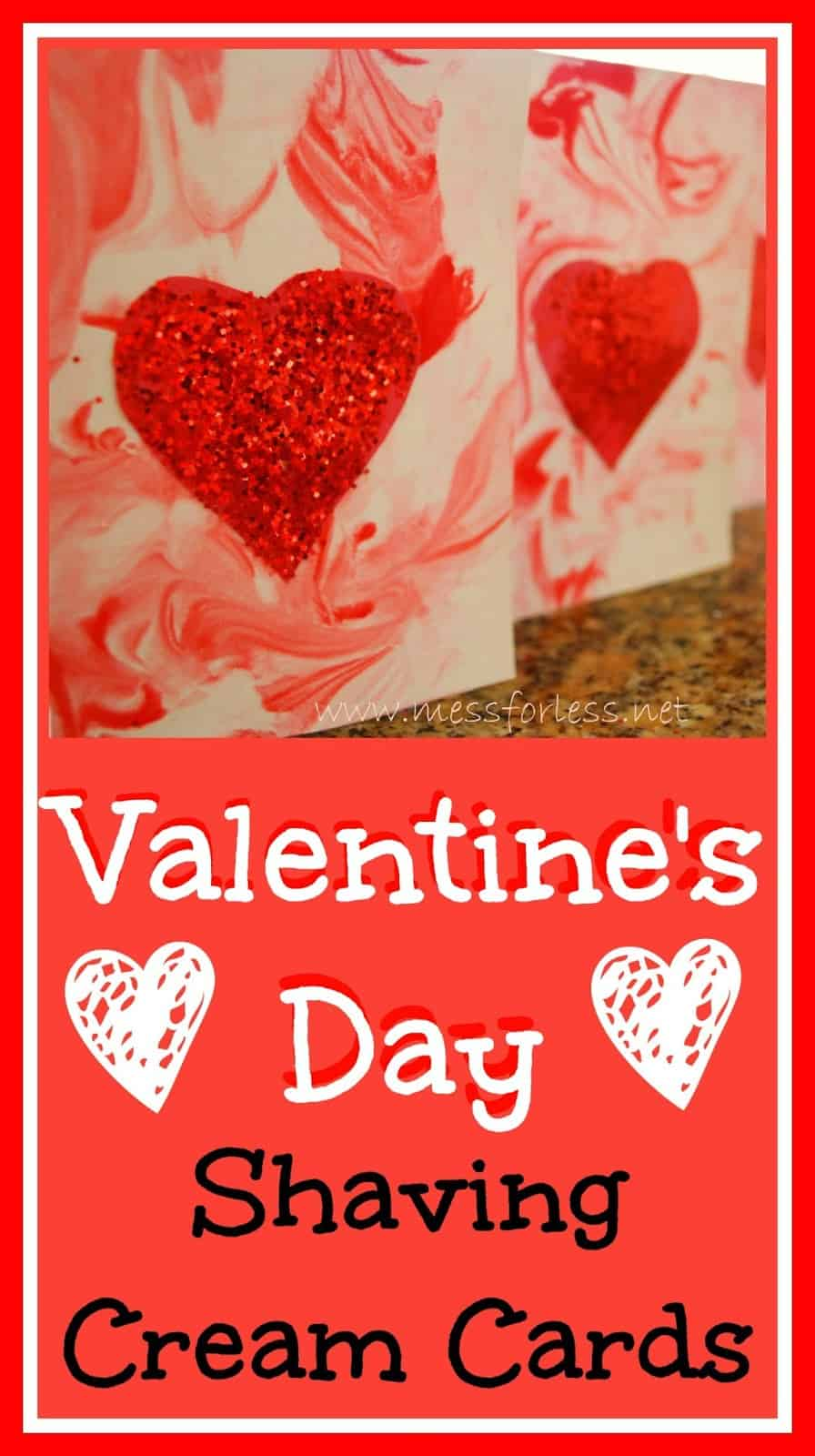 Valentines Day Cards using Shaving Cream Mess for Less – Kids Valentines Day Card