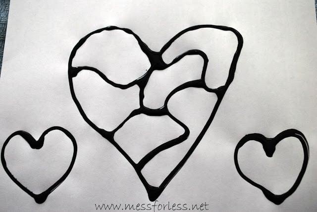 black glue hearts