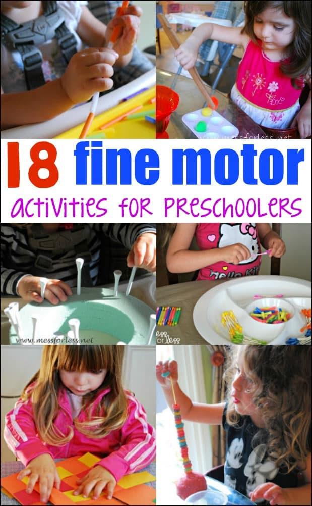 These 18 Fine Motor Activities for Preschoolers will keep your kids busy while they work on important skills. #finemotorskills #finemotoractivities #kidsactivities