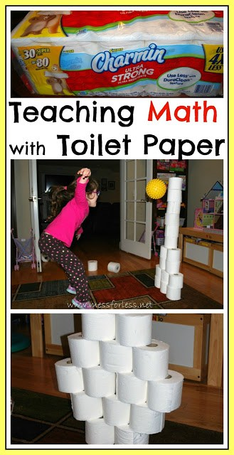 Fun Math Games: Toilet Paper Knock Down - We all have toilet paper. Now you can use it to help kids learn math and other concepts. From www.messforless.net #math #kids #gross-motor