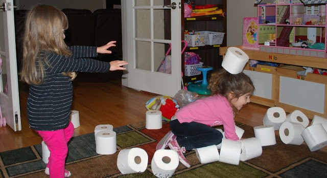 Fun Math Games for kids using toilet paper