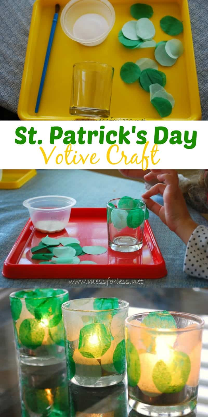 Make a St. Patrick's Day Votive with kids. This fun craft project will allow kids to create a work of art you can display in your home. Such a fun St. Patrick's Day activity!