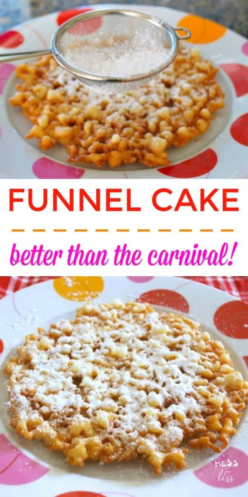 Love the funnel cake you get at the carnival? Make it at home with this easy funnel cake recipe!