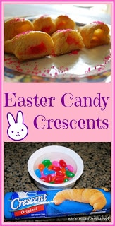 Easter Candy Crescents: Stuff crescent rolls with Easter candy before baking for a yummy treat! #easter #crescent-rolls