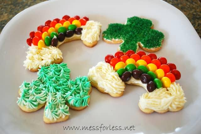 Rainbow and shamrock cookies
