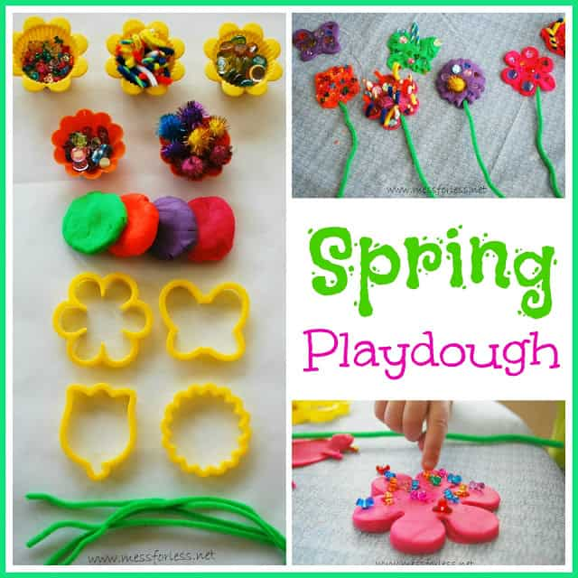 Playdough Games: Make Srping play dough for kids by using stuff you already have at home. #play-dough #spring