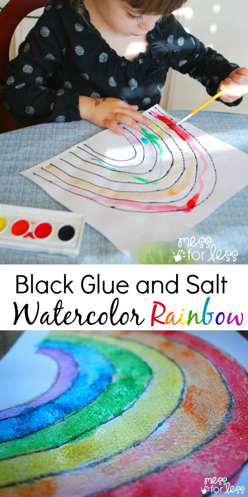 Salt Painting! Love the vibrancy of this Black Glue and Salt Watercolor Rainbow. One of our Favorite Rainbow Activities. Perfect for St. Patrick's Day or Spring.
