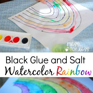 Black Glue and Salt Watercolor Rainbow – Salt Painting for Preschool