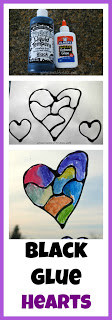 Hearts with Black Glue - looks like stained glass! So easy to do.