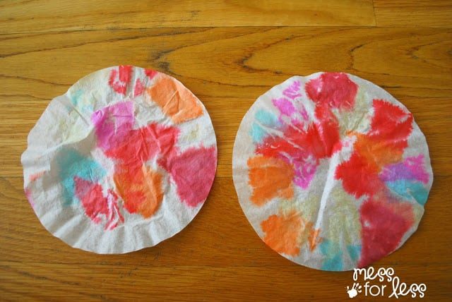 Coffee filter flowers with tissue paper