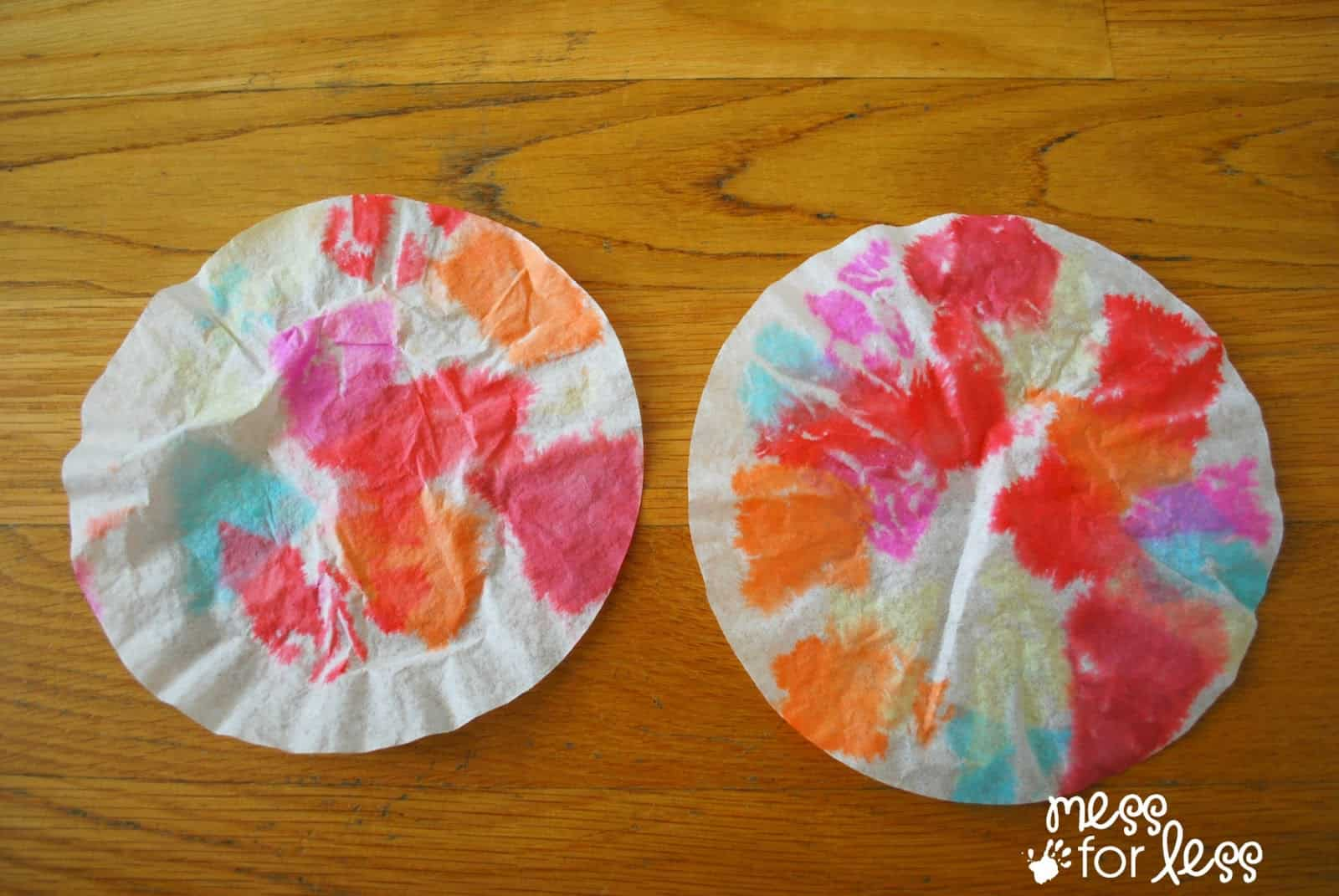 Coffee filter flowers made with tissue paper mess for less coffee filter flowers with tissue paper mightylinksfo Images