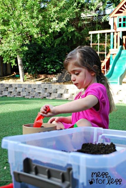 kids garden sensory bin