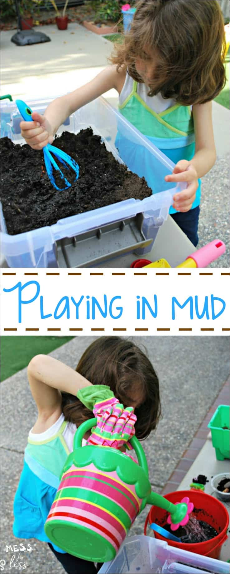 Playing with mud is a fun sensory activity for kids. It is easy to set up and will keep kids engaged and having fun. Cute idea for a sensory bin!