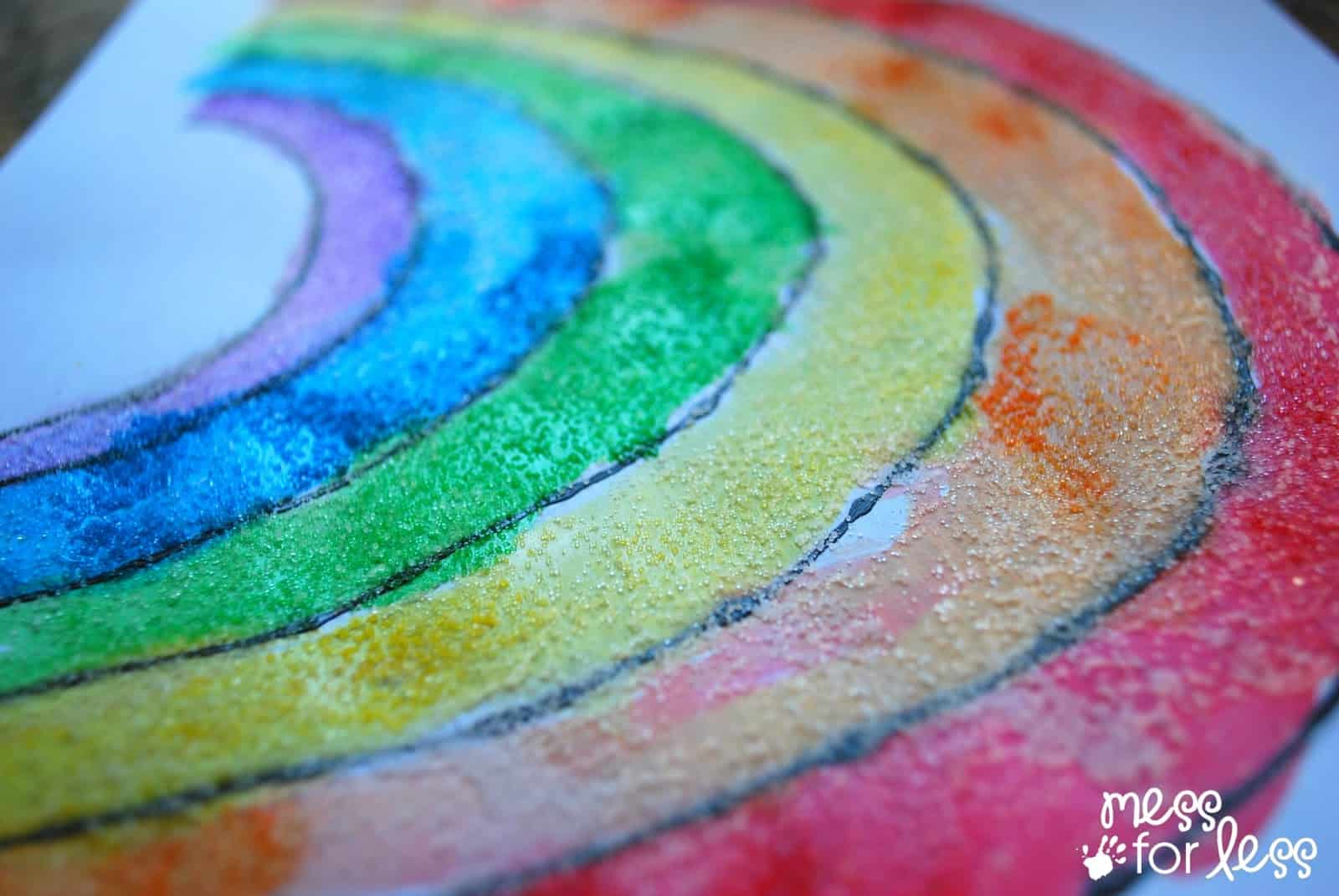 black glue and salt watercolor rainbow salt painting for