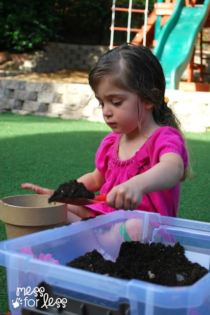 making a garden sensory bin