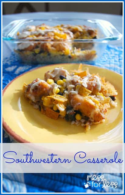 Southwestern Chicken Casserole - Easy dinner recipe and a great way to liven up chicken. Yummy!