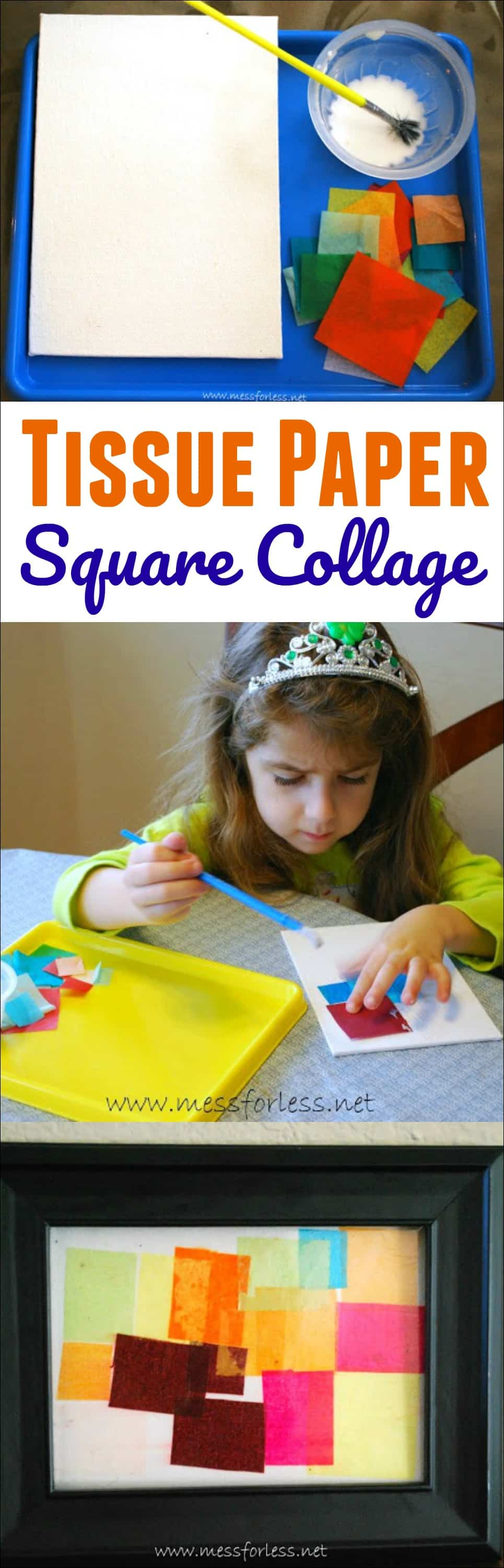 Tissue Paper Square Collage - Using tissue paper and glue on canvas kids can create a work of art.