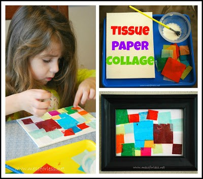 Tissue Paper Collage - Using tissue paper and glue on canvas kids can create a work of art. #collage #art #kidsart