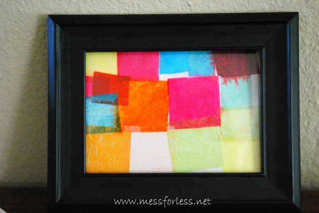 tissue paper square collage