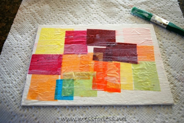 tissue paper square collage