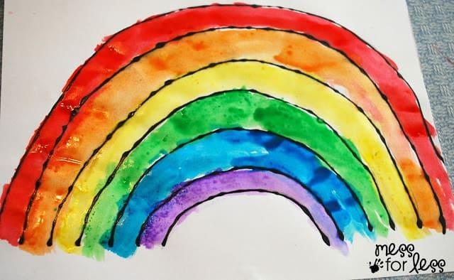 salt painting watercolor rainbow